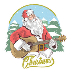 santa claus merry christmas guitar vector image