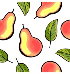 Seamless pears and leaves pattern vector image