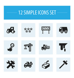 Set of 12 editable building icons includes vector