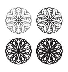 Set of black circular linear icons logos vector