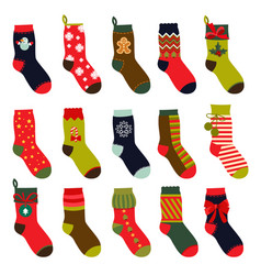 set of christmas socks in vector image