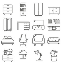 set of icons in line style household accessories vector image