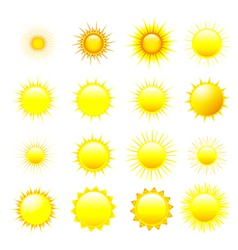 Set of orange and yellow sun vector