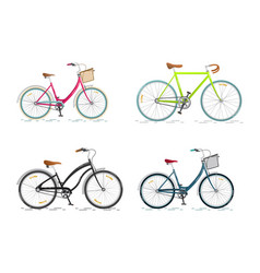 set sports bicycle flat bike isolated on white vector image