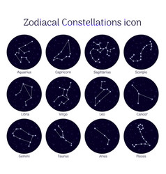Set zodiacal constellations round night sky vector