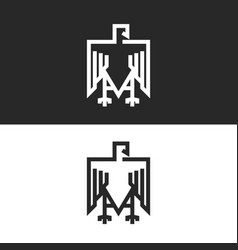 Sitting eagle logo heraldic symbol vector