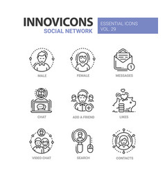 Social network - modern line icons set vector