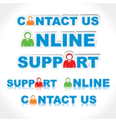 sticker of contact us support online vector image