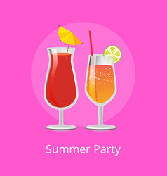 Summer party alcohol drinks tropical cocktails set vector