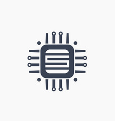 Technology circuit board icon on white vector