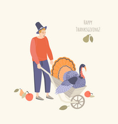 thanksgiving with a young man wearing a pilgrim vector image