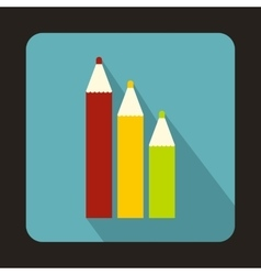 Three colored pencils icon in flat style vector image