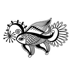 tribal fish drawing indian mehndi decor vector image