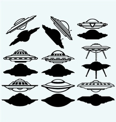 UFO flying saucer set icon vector