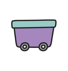 wagon on wheels toy plastic icon vector image