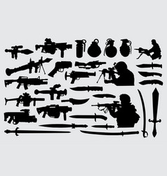 Weapon gun knife sword and soldier silhouette vector
