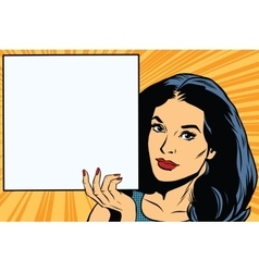 Woman holding blank poster pop art vector image