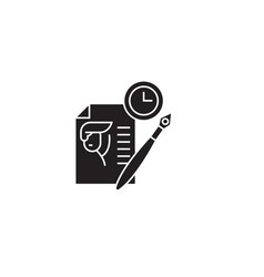 writing resume black concept icon writing vector image