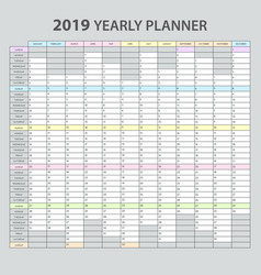 Yearly planner 2019 vector
