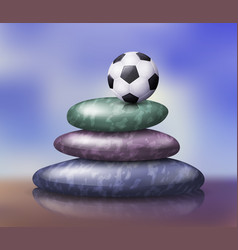 Zen spa stones stack with soccer ball on its top vector