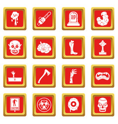 zombie icons set red vector image