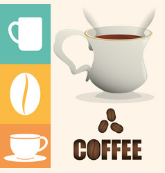 coffee cup poster cup beverage vector image vector image