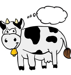 cow with thought bubble vector image vector image
