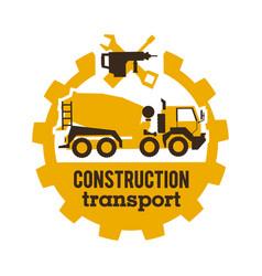 logo concrete mixers construction vehicles vector image