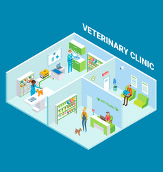 Veterinary clinic cutaway interior flat vector