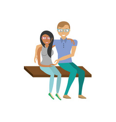 couple romantic sitting in bench vector image