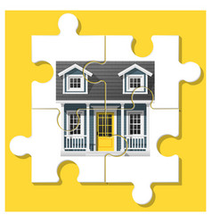 Dream house concept with completed puzzle house vector