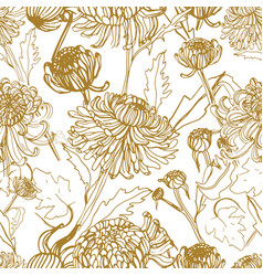japanese chrysanthemum hand drawn seamless pattern vector image vector image