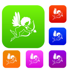 love cupid set color collection vector image