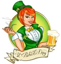 Pretty Pin Up Girl with beer mug and smoking pipe vector image vector image