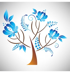 Tree with floral element in russian gzhel style vector