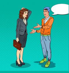 Young man explaining to businesswoman pop art vector