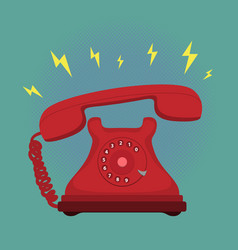 classic vintage retro dial telephone are ringing vector image vector image