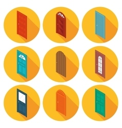 color isometric set of flat icons doors vector image vector image