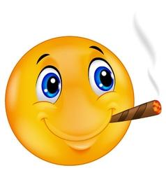Emoticon smiley smoking cigar vector image vector image