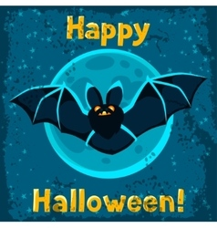 Happy halloween greeting card with flying bat vector image