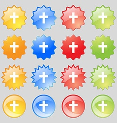 religious cross Christian icon sign Big set of 16 vector image