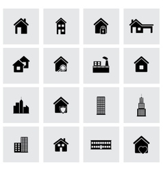 black buildings icons set vector image vector image