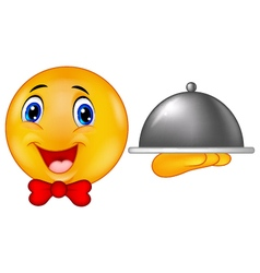 Emoticon smiley holding silver plater vector image vector image
