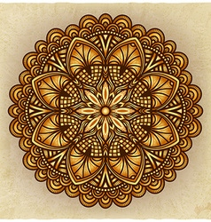 golden floral ornament circular pattern old vector image