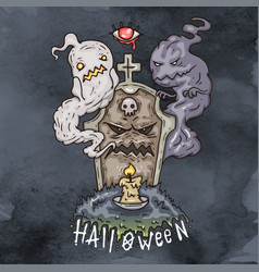 happy halloween cartoon evil vector image