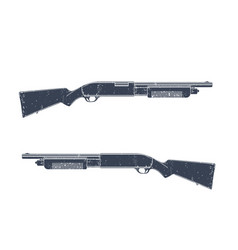 shotgun two sides with texture over white vector image vector image