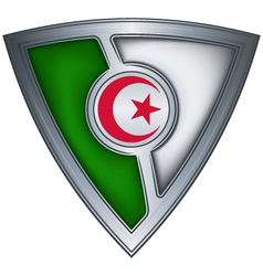 steel shield with flag algeria vector image vector image