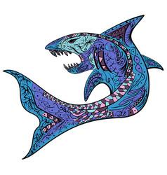 zentangle stylized colorful shark vector image vector image