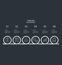 6 steps timeline infographics circle style vector image