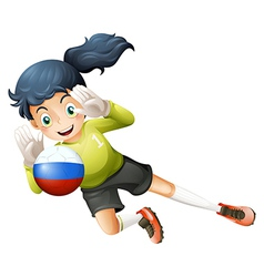A smiling lady using the ball with the Russian vector image